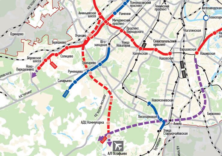 Схема продления метро